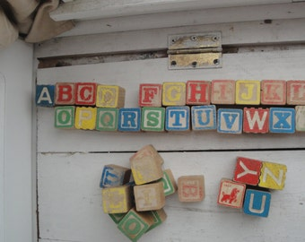 Vintage Wood Letter Blocks Set of 40