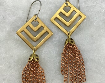 Brass Chevron Tassel Earrings | E11626