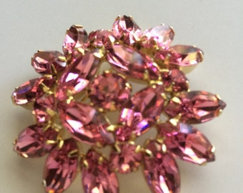 Weiss Brooch Pink Rhinestone
