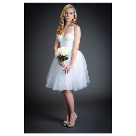 Items similar to the pearl pinup short white wedding dress for Jewelry for halter wedding dress