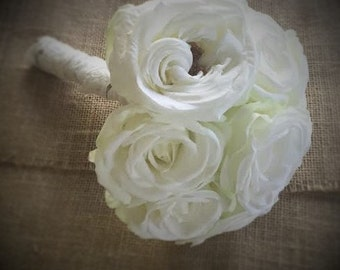 Ivory white rose and lace wedding bouquet, keepsake wedding bouquet, bridal bouquet, silk bouquet, flower bouquet, artificial bouquet