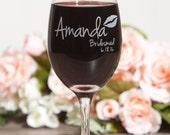 Etched Bridesmaid Wine Glasses, Personalized Stemless Wine Glasses, Blush Wedding Decor, Bachelorette Wine Glasses, Custom Wedding glasses