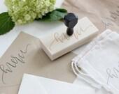 calligraphy merci stamp