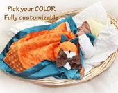 Orange Minky Fox Security Blanket, Lovey Blanket, Satin, Baby Blanket, Stuffed Animal, Baby Toy - Customize Color