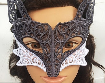 Grey Wolf Lace Mask
