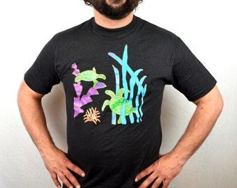 Vintage 90s Neon Sea Turtle Tee Shirt