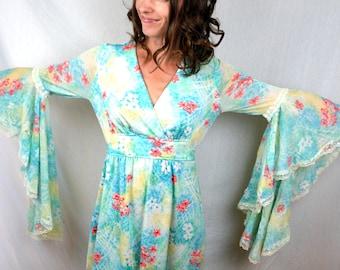 Vintage 1970s Polyester Goddess Belled Angel Sleeve Dress
