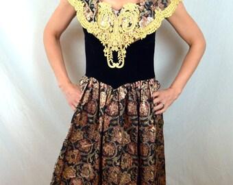 Vintage 1980s Gunne Sax Jessica McClintock FUN Metallic Prom Party Dress