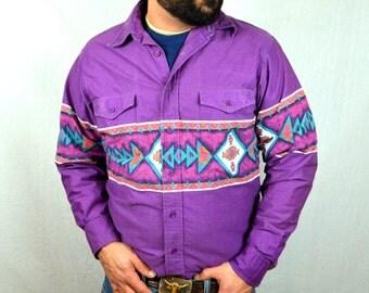 Vintage Purple Geometric Southwest 80s 90s Wrangler Shirt