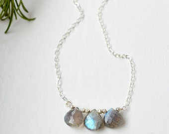 Labradorite Necklace / Sterling Silver Necklace / Delicate Gemstone Necklace / Labradorite Briolette Necklace / Three Stone Necklace