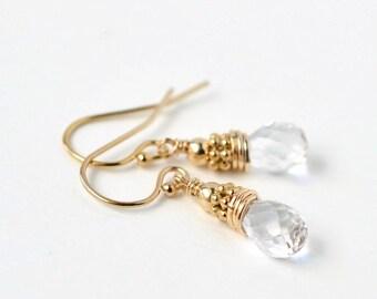 Small Clear Gemstone Earrings / Rock Crystal Earrings / White Gemstone Earrings / Crystal Quartz Earrings / April Birthstone Jewelry