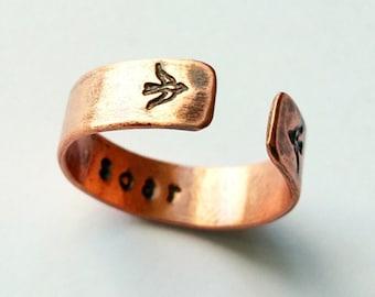 SOAR Copper Ring with SOARING BIRD Design, Handcrafted, Hammered and Stamped 18 ga Copper, Brushed Matte Finish, Adjustable, Made to Order