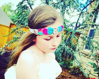 Flower girl, wedding, Fashion Headband, Vintage, Headband, Dance, Ballet, Wedding, Faith and Fit petite Rose Wrap in Teal Pink