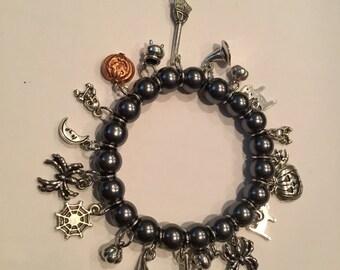 Halloween Charm Bracelet ,  Wiches Brew Charm Bracelet , Halloween  Bracelet , Pumpkin Bracelet