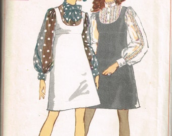 60s Blouse and Jumper Pattern Simplicity 8025 Bust 38 Empire Waist Jumper Feminine Blouse High Necked Blouse Vintage 1968 Sewing Pattern