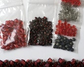 Beads to create Cherries Jubilee Beaded Kumihimo Focal Grouping, Beads Only