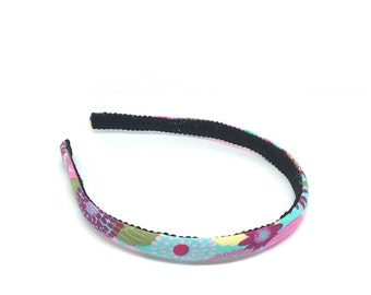Shabby Chic Colorful Skinny Headband - Turquoise, Pink, Yellow - Skinny Headband for Girls or Adults - Fabric Covered - Back to School