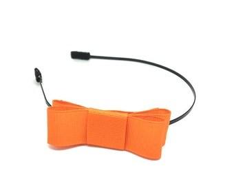 Tangerine Orange Bow Headband - Metal Headband with Bow - Big Girl Headband, Tween Headband, Adult Headband, Side Bow Metal Headband
