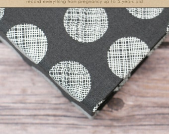 Baby  Book (Pregnancy - 5 years) - Grey Patterned Polka Dot  (136 designed journaling pages & personalization included)