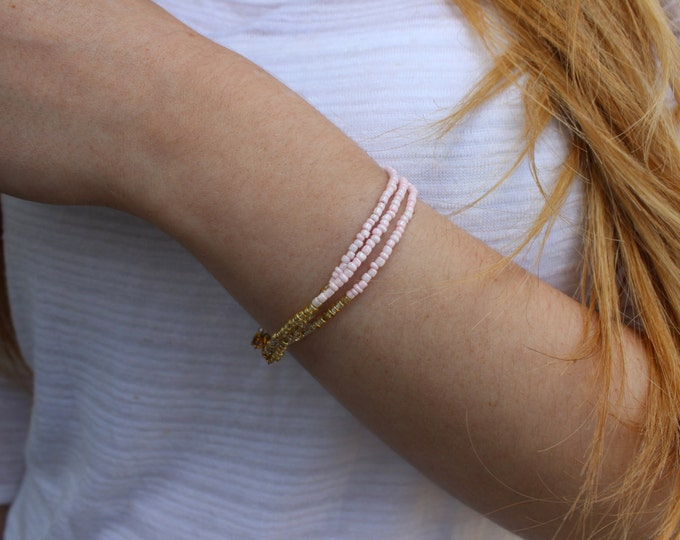 Dip Dye Pink and Gold Bracelet, Ombre Bracelet.