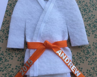 Orange Belt Martial Arts Christmas Ornament- Personalized ORANGE Belt - Uniform with Name / Year - TaeKwonDo Karate Jiu Jitsu Bando Hapkido