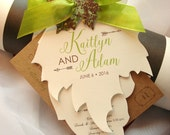 Growing in Love Hand Cut Maple and Oak Leaf Wedding Invitation Set - Sample