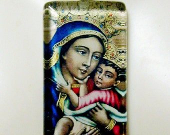 Black Madonna and child pendant with chain - GP01-361