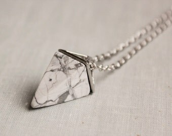 Howlite Geometric Triangle Necklace. Gemstone Necklace.