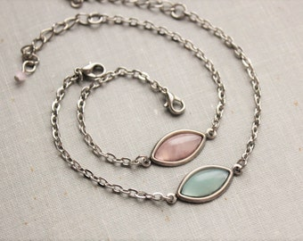 Rose Quartz or Blue Quartz Navette Bracelet. Dainty Jewelry