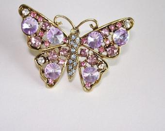 Amethyst Butterfly Brooch Crystal Stones