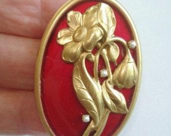 Pearl  Red Flower Brooch