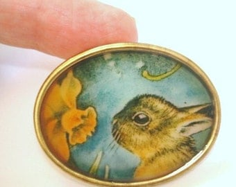 Rabbit Smelling Flowers Vintage Jewelry Animal Brooch