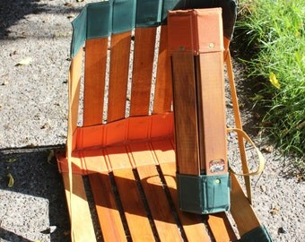 RE-LAX Fishing Camp 1 Chair Canvas Wood Roll up Beach Camping 1930 VINTAGE by Plantdreaming