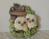 Legend Products Pair of Tawny Owlets Plaster Wall Plaque. 1983 Bosson's Look-a-Like Owls Wall Hanging. Made in England Plaster Owls