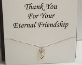 Cut Out Heart Tag with White Pearl Silver Necklace ~Personalized Jewelry Gift Card for Friend, Sister, Bridal Party, Mom, Family, Weddings