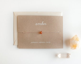 Amber - Crystal Card - friendship necklace or bracelet - gold - amber - bridesmaid gift - birthday - best friends - bff - love