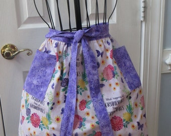 Lined half-apron with ruffles Great for Grandmother  Pink Floral Print with Complimentary Purple Pockets and Tie