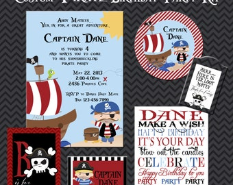 Pirate Party Kit, Boy  Pirate Birthday Party, Printable Party Kit, Girl Party, Printable Party, 5x7 Invitations, Custom