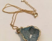 """Gold Finished Chain with Light Blue Agate Druzy.16k Gold Plated Brass with estra 2"""" Extender. Minimalist Jewelry.Gift for Her.Simple Jewelry"""