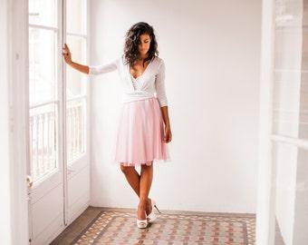 Dusty pink tulle skirt, short pink tulle skirt, pink overlay tulle skirt, dusty rose tulle skirt, bridesmaid skirt, prom dress tulle skirt