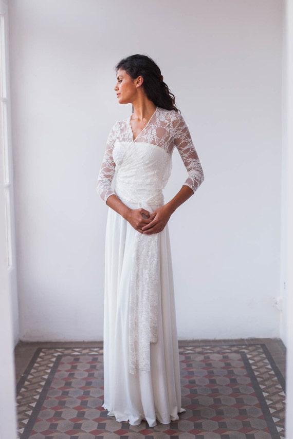 Lace long sleeve wedding dress wedding dress long sleeve like this item junglespirit Choice Image