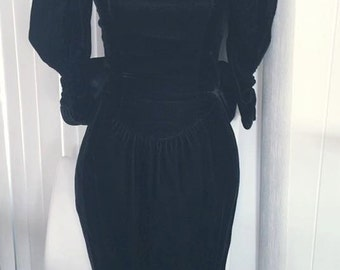 Vintage 70's 80's Does 40's Vampy Black Velvet Dress by Jessica McClintock