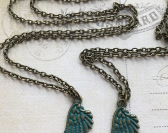 Verdigris Angel Wing Necklace - Friendship Necklace Best Friend Necklace SET OF 2