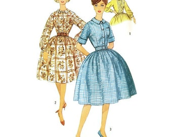 1960s Fullskirted Shirtwaist Dress Pattern Simplicity 3513 B32 Sz 12