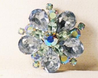 Vintage Steel Blue Aurora Borealis Rhinestone Brooch Pin (B-2-3)