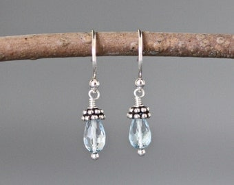 Blue Topaz Earrings - Silver Wire Wrap Earrings - December Birthstone - Blue Gemstone Earrings - Bali Silver Earrings - Petite Earrings