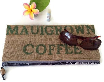 Mauigrown Coffee Foldover Clutch with Genuine Koa Wood Pull. Recycled Maui Coffee Bag. Handmade in Hawaii.