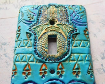 Beaded Hamsa, light switch cover, turquoise, yellow, purple, gold, beads, rhinestones, one of a kind