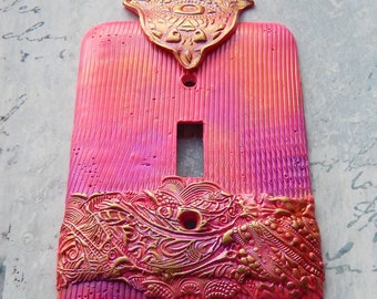 Bright Pink Hamsa, switch plate cover, one of a kind, gold, pink, sparkly