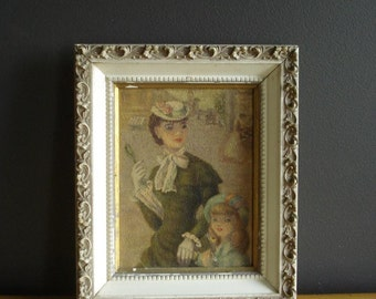 A Girl in Paris - Ornate Frames with Vintage Print - Small Framed Illustration of Woman and Girl